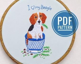 PDF embroidery pattern Beagle. I love my Dog. DIY embroidery guide. Hand embroidery pattern. PDF Download. Cute Dog Embroidery. Beagle art.