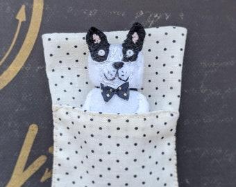 French bulldog doll. Worry Doll. Worry doll dog. Pocket toy. Pocket dog toy. Small dog doll. Handmade small unique gift. Textile dog doll.