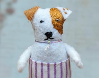 Jack Russel Terrier worry doll. Pocket toy. Pocket dog toy. Small dog doll. Handmade small unique gift. Textile dog doll. Pet sympathy gift.