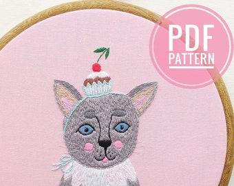 PDF embroidery pattern Sweet Life Kitty. DIY embroidery guide. Hand embroidery pattern. PDF Download. Cute Cat Embroidery. Cat pdf pattern.