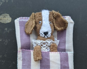 Beagle Worry Doll. Worry doll dog. Pocket toy. Pocket dog toy. Small dog doll. Handmade small unique gift. Textile dog doll.