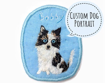 Personalized Custom Dog Portrait. Commission Pet Portrait. Dog Brooch. Hand embroidery. Textile art jewelry. Custom Dog Portrait. Dog Gift.