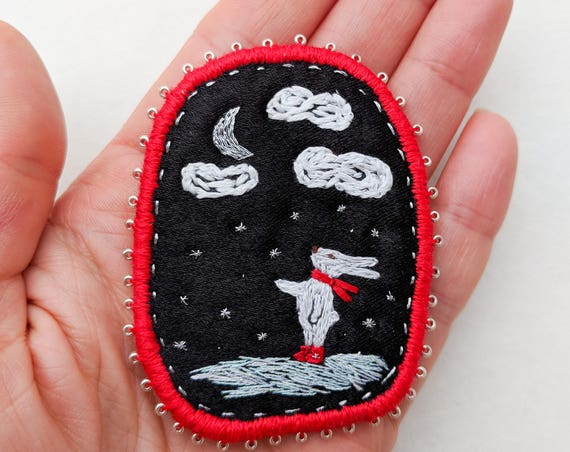 """Brooch """"Bunnies also look to the sky""""  - handembroidery textile jewelry"""