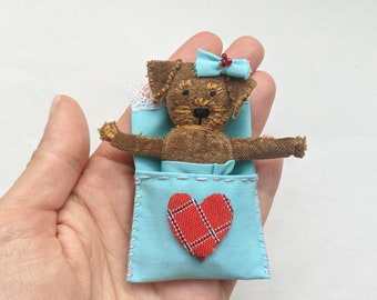 Terrier pocket doll. Worry Doll. Worry doll dog. Pocket toy. Pocket dog toy. Small dog doll. Handmade small unique gift. Textile dog doll.