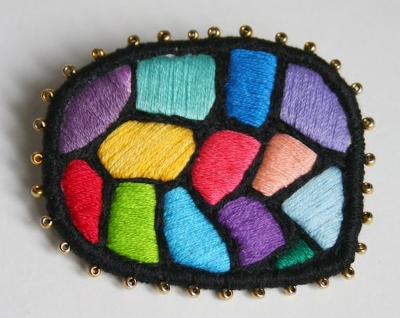 "Textile Brooch ""Hundertwasser mosaic"", hand embroidered art jewelry multicolour brooch"