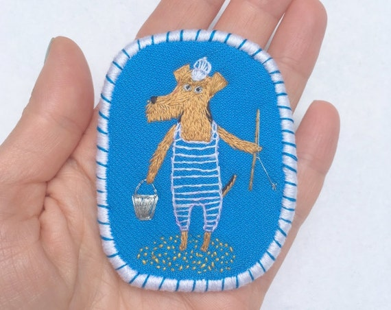 Textile Dog Brooch Terriers Fishing Day. Funny Dogs - collection, hand embroidered textile jewelry, pet portrait brooch. Summer jewelry.