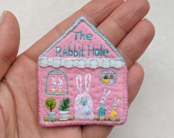 """Textile brooch - """"The Rabbit Hole"""" - hand embroidered art jewelry"""