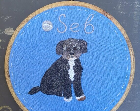 Pet Portrait Embroidery.Personalized Custom Pet Portrait.Embroidery Dog Portrait. Embroidery cat portrait.
