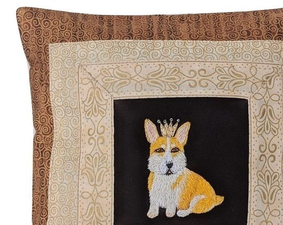 Corgi with crown Pillow. Decorative cushion with hand embroidered dog.  Majestic Corgi gift. Pillow with Corgi cover. Unique Corgi gift.