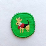 Airedale Terrier Brooch. The King of Terriers pin. Terrier pin. Unique airedale brooch. Funny Dogs collection, hand embroidered textile pin.