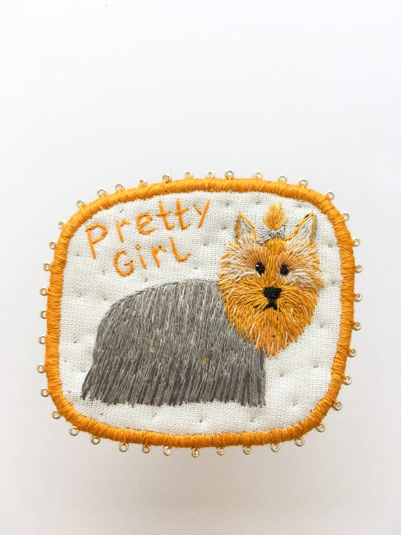 Embroidery Dog Brooch with Yorkshire Terrier  -  Funny Dogs - collection, hand embroidered textile dog jewelry. Terrier brooch.
