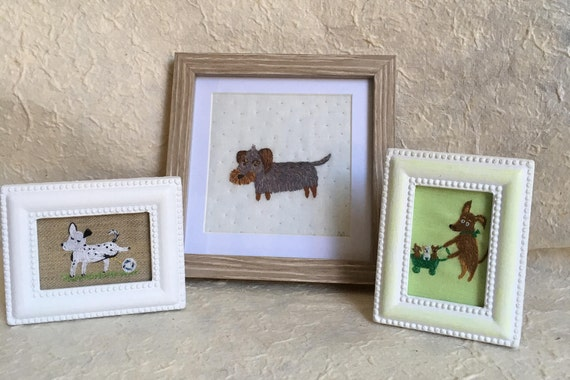 Embroidery Art Wire Haired Dachshund - Funny Dogs - collection, framed hand embroidery dog portrait. Dackel Portrait.