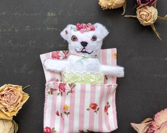 Pitbull Flower Girl. Worry Doll. Worry doll dog. Pocket toy. Pocket dog toy. Small dog doll. Handmade small unique gift. Textile dog doll.