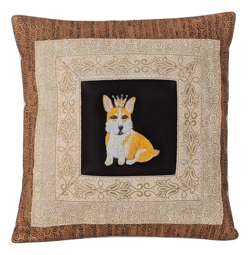 corgi with crown pillow decorative cushion with hand embroidered