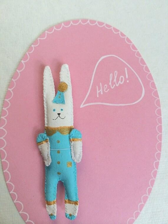 "SALE! Rabbit Brooch/ Pendant ""Mini Bunny Friend"" unique gift. 3 D patch. Hand painted Bunny miniature. Wearable art."