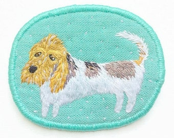 Brooch with Dog. The long dog. Basset Griffon Vendeen. Funny Dogs - collection, hand embroidered textile dog jewelry. Dog Portrait Brooch.