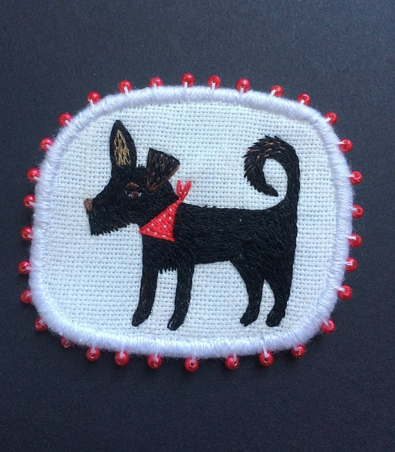 "Textile Pet Portrait Brooch - ""Blacky"" -  Funny Dogs - collection, hand embroidered textile dog jewelry"
