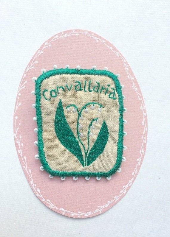 SALE! Textile Brooch - Convallaria - hand embroidery unique jewellery with flowers. Botanical embroidery art.