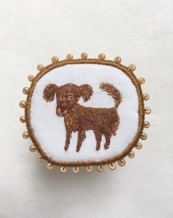"""Textile Dog Brooch """"Cappuccino"""" -  Funny Dogs - collection, hand embroidered textile jewelry, pet portrait brooch."""