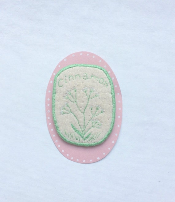 SALE! Textile Herbs Brooch - Cinnamon - hand embroidered unique jewellery with floral motive. Botanical Art Embroidery.
