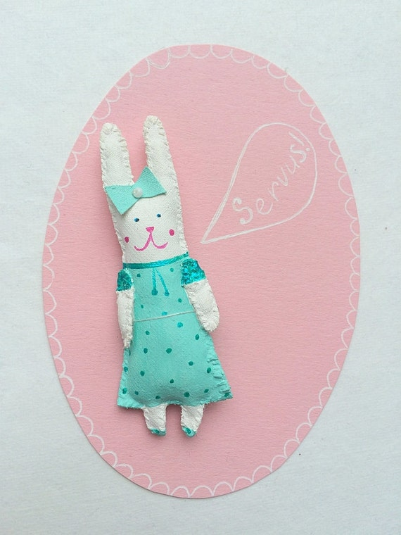 "SALE! Rabbit Brooch, Pendant ""Mini Bunny Friend"" handmade unique gift. 3D patch."