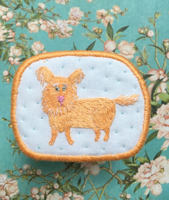 """Textile Dog Brooch """"Peachy"""" -  Funny Dogs - collection, hand embroidered textile jewelry, pet portrait brooch."""