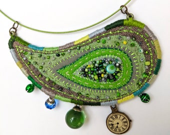 Hand Embroidery big Necklace with Paisley pendant with mini bells. Hand dyed textile pendant.Paisley Boho Unique Jewellery. Green Necklace.