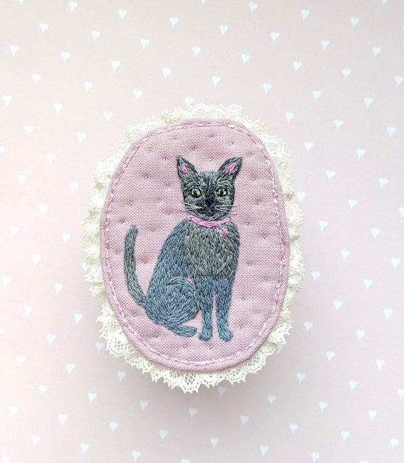 Textile Pet Brooch - I love my cat, hand embroidered textile cat jewelry