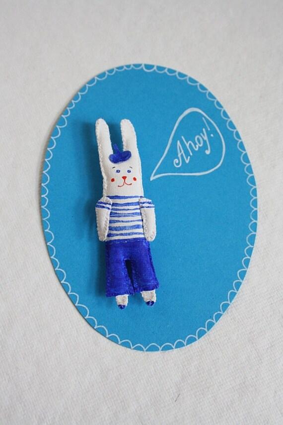 """SALE! Hand painted Rabbit Brooch/ Pendant """"Mini Bunny Friend"""". Unique gift. 3D patch."""