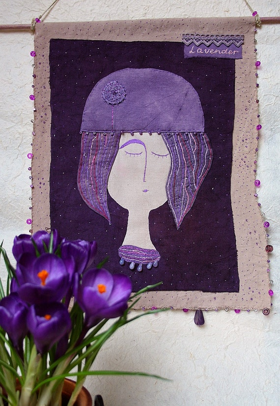 "Embroidered Textile Art Wall Hanging  ""Lavender Girl"" - naturally dyed textil, hand embroidery"