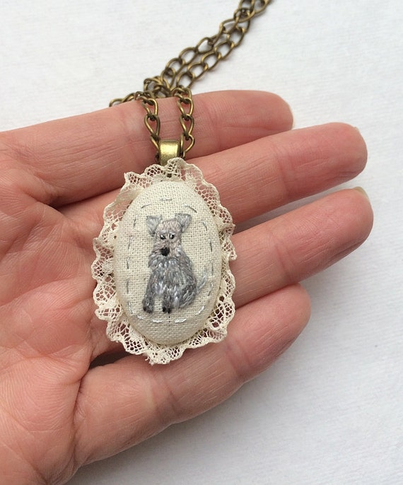 Pet Necklace with hand embroidered Schnauzer pendant. Unique textile jewelry with dog by makikoart