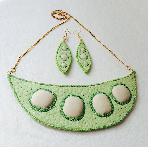 "Textile Necklace, Earrings  ""Organic peas""  hand embroidery art jewelry set"