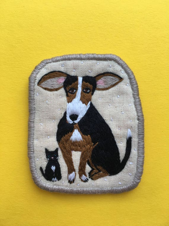 Brooch with Dog and Cat BFF -  Funny Dogs - collection, hand embroidered textile jewelry, pet portrait brooch.