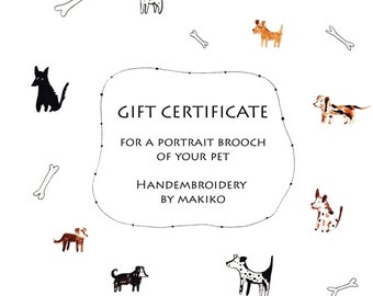 Pet Portrait Embroidery. Gift certificate. Gift voucher. Personalized Custom Portrait. Hand embroidered brooch with cat or dog by MakikoArt