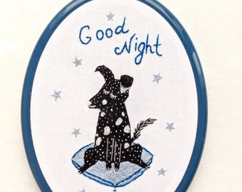 """Hand Embroidery Hoop Wall Art - Good Night with funny dog-  hand embroidered 6.5"""" wall hanging"""