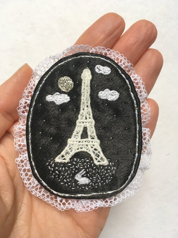 """Textile Brooch - """"Bonne nuit Paris!""""  hand embroidered statement jewelry with white rabbit and Eiffel tower. Paris jewellery. Paris gift"""