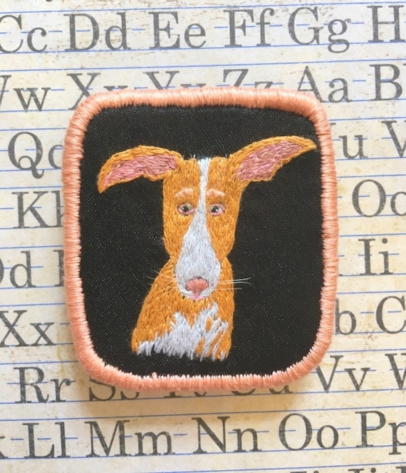 Textile Pet Portrait Brooch with Podenco Canario. Funny Dogs collection, hand embroidered textile dog jewelry. Dog portrait. Dog Embroidery