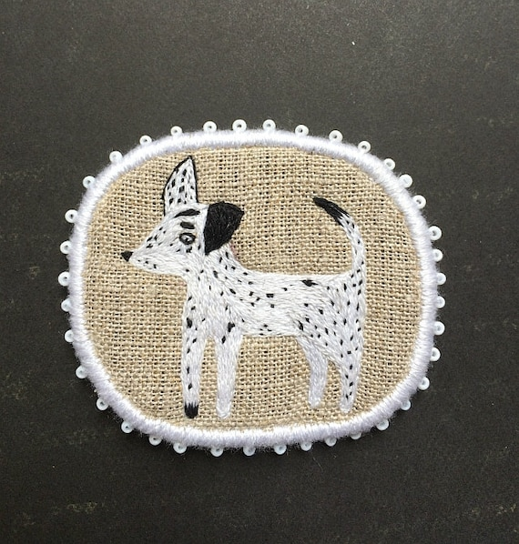 "Pet Brooch - ""Spotty"" -  Funny Dogs - collection, hand embroidered textile jewelry"