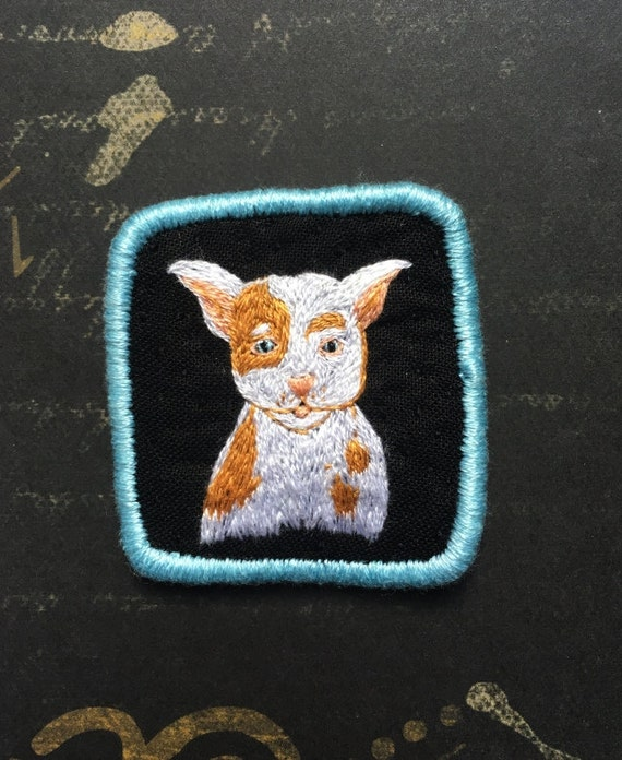 Textile Pet Portrait Brooch - Pitbull Puppy -  Funny Dogs - collection, hand embroidered textile dog jewelry