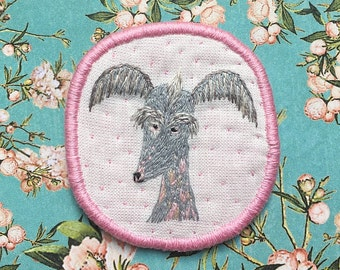 Chinese crested dog Portrait Brooch. Funny Dogs - collection, hand embroidered textile dog jewelry. Embroidery Dog Pin.