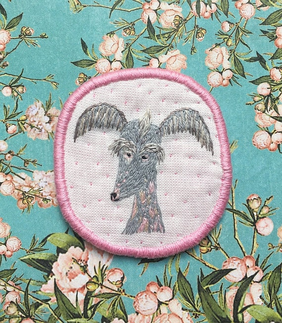 Textile Pet Portrait Brooch - Chinese crested dog -  Funny Dogs - collection, hand embroidered textile dog jewelry
