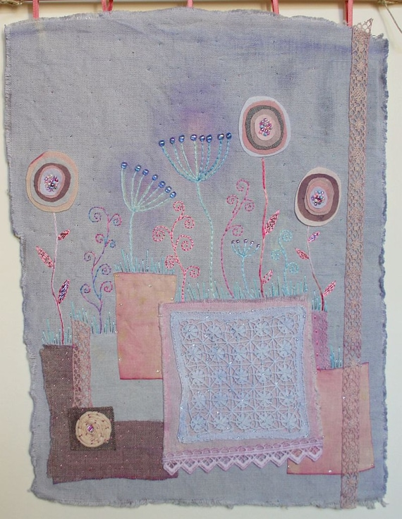 "Embroidered Textile Art Wall Hanging  ""Summer evening"" - naturally dyed textil, hand embroidery unique wall art gift"