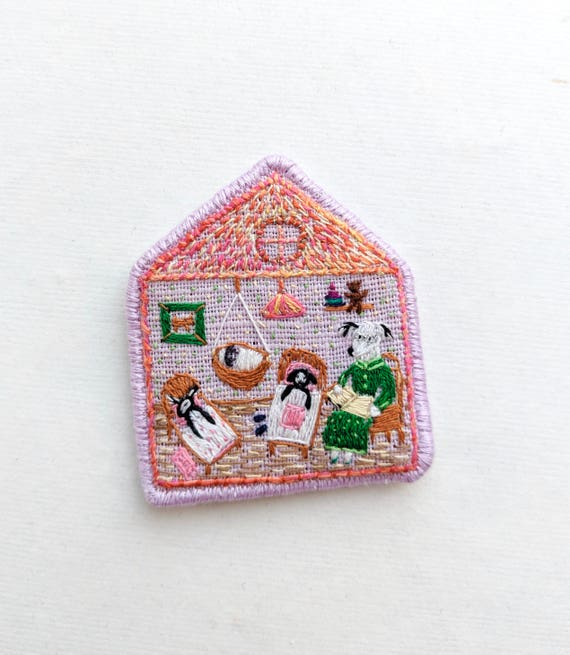 Brooch Grandma's Fairy Tales-  Funny Dogs - collection, hand embroidered textile dog jewelry. Terrier brooch.