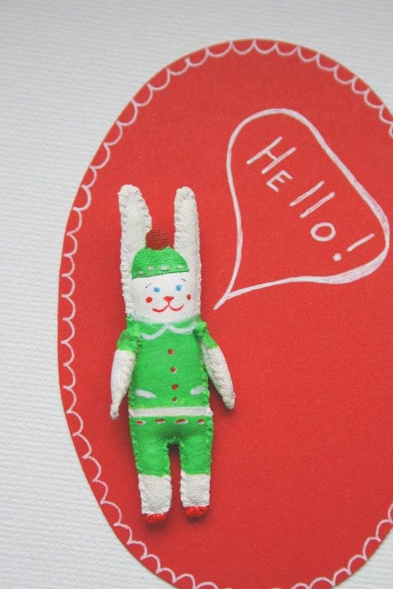 """SALE! Rabbit Brooch, Pendant """"Mini Bunny Friend"""" hand painted unique gift. 3D patch."""