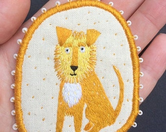 Brooch with ginger Dog Leo. Funny Dogs - collection. Hand embroidered textile dog jewelry. Embroidered Pin. Pin with Dog. Terrier Brooch.
