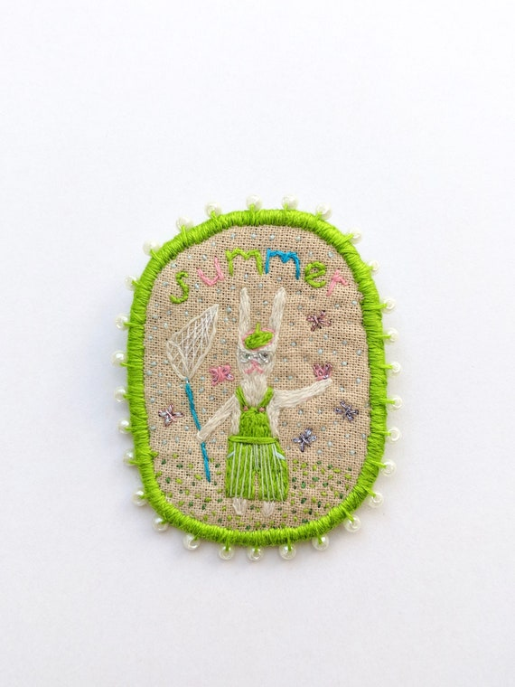 Brooch Summer Rabbit, hand embroidered pin. Unique gift. Wearable art. Hand Embroidery brooch with rabbit.