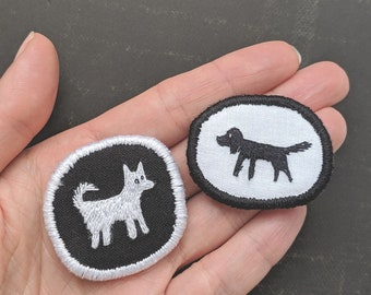 Set with two mini brooches Black Dog and White Dog. Hand embroidered textile dog jewelry. Brooch with dog. Embroidery Art.