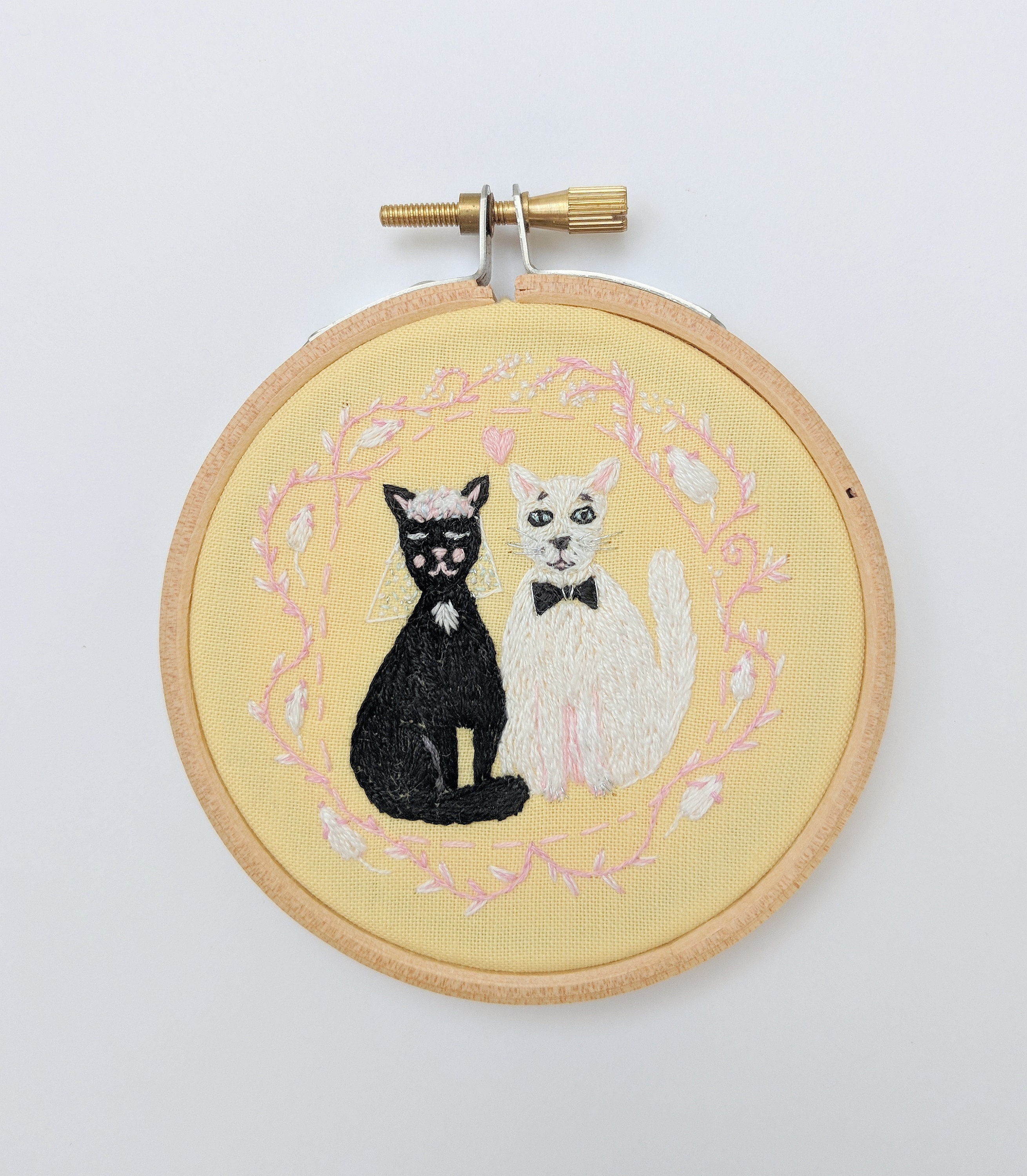 Wedding Cats embroidery. Hand embroidery hoop wall art with black ...