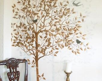stencil wall stencil large tree stencil free birds stencil etsy