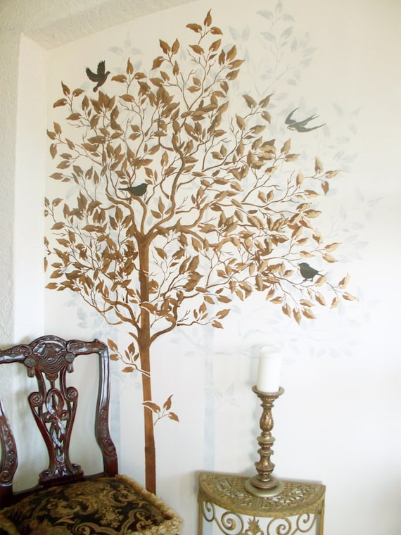 stencil tree stencil free birds stencil large tree stencil etsy